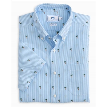 Southern Tide M SS Palm Tree Clip Sportshirt