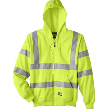 Men's Hi-Vis Class 3 Lined Full-Zip Hooded Sweatshirt