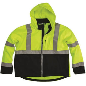 Men's Hi-Vis Class 3 Hooded Softshell Jacket