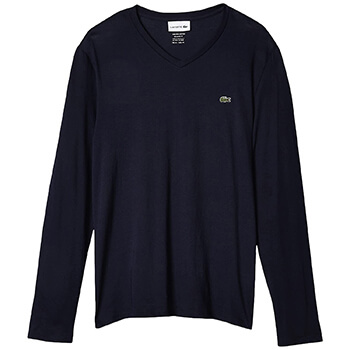 Lacoste Men's Long Sleeve Pima V-Neck T-Shirt