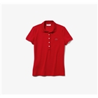 Lacoste Women's Slim Fit Stretch Pique Polo Shirt - Red