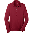 Nike Women's Dri-Fit Tech Long Sleeve Polo - Varsity Red