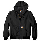 Carhartt Men's Quilted-Flannel-Lined Duck Active Jac - Black